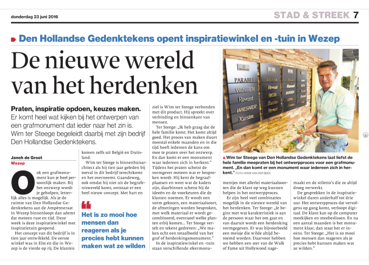 artikel in de Stentor over Den Hollandsche gedenktekens in Wezep