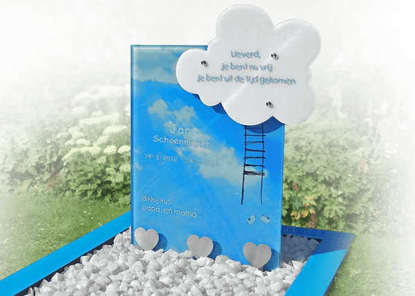 kindergrafmonumenten decoraties rvs glas wolk hartjes