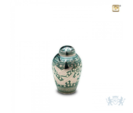 Messing mini urn groen met decoratie