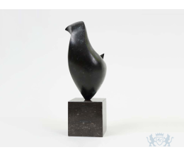 Shy Bird - urn ornament brons