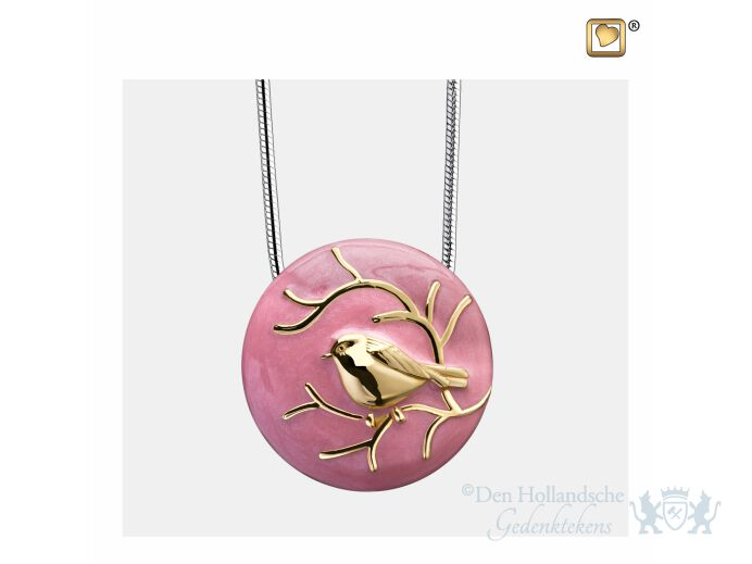BlessingBirds Ashes Pendant Pearl Pink and Pol Gold Vermeil foto 1