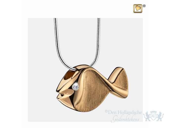 Fish Ashes Pendant Pol and Bru Gold Vermeil w/Zirconia foto 1