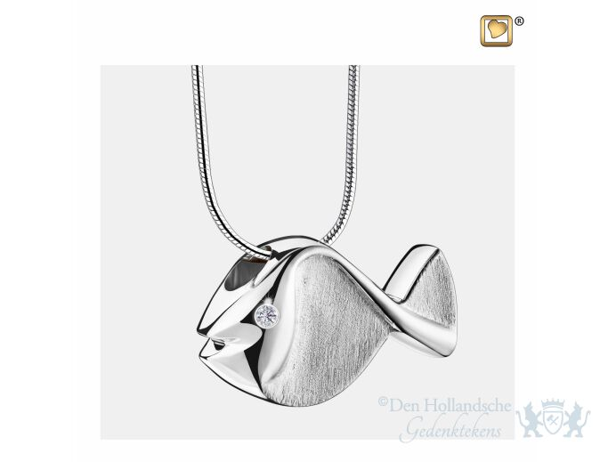 Fish Ashes Pendant Pol and Bru Silver w/Zirconia foto 1