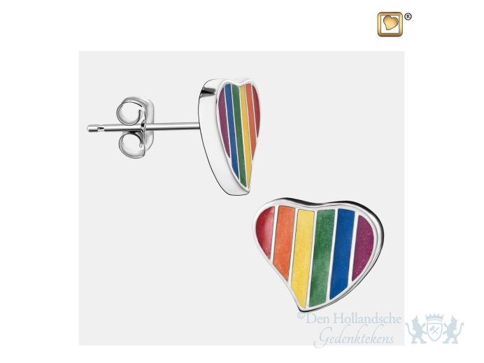 Leaning Heart Pride Rainbow Stud Earrings Pol Silver foto 1