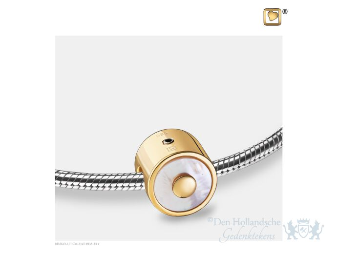 Mother of Pearl Ashes Bead Pol Gold Vermeil foto 1