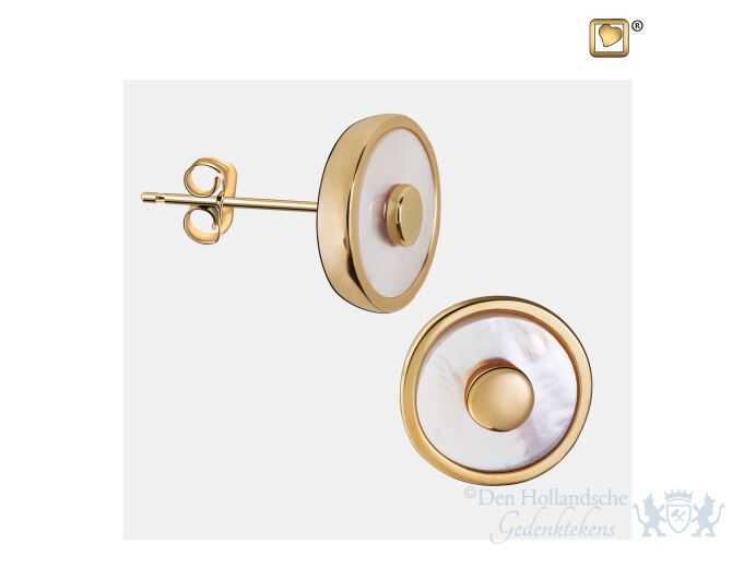 Mother of Pearl Stud Earrings Pol Gold Vermeil foto 1