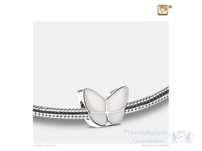 Wings of Hope Ashes Bead Pearl White and Pol Silver foto 1