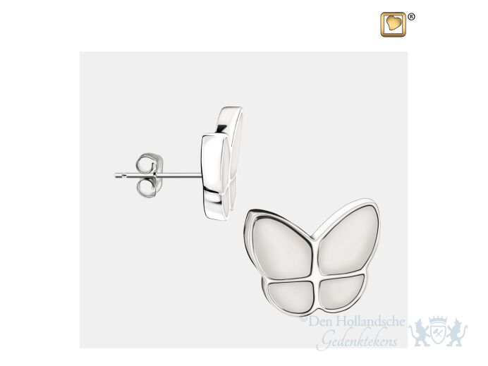Wings of Hope Stud Earrings Pearl White and Pol Silver foto 1