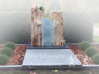 Dubbel grafmonument versteend hout