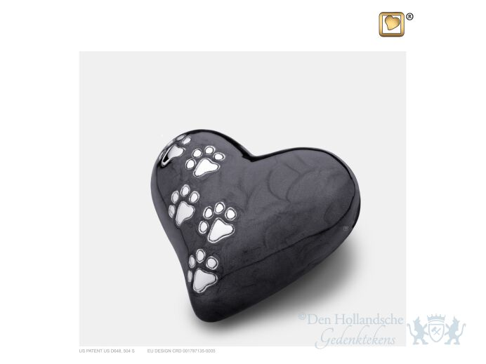 Keepsake Heart Pet Urn Pearl Midnight and Bru Pewter foto 1