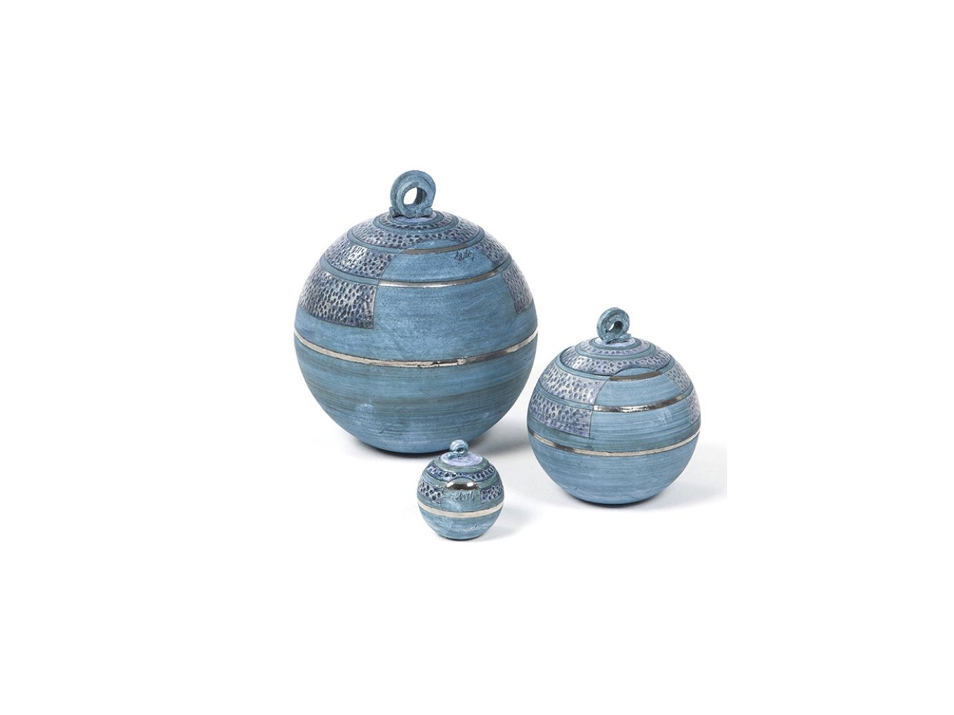 Keramische mini urn blauw bol met decoratie 0.1l 9488