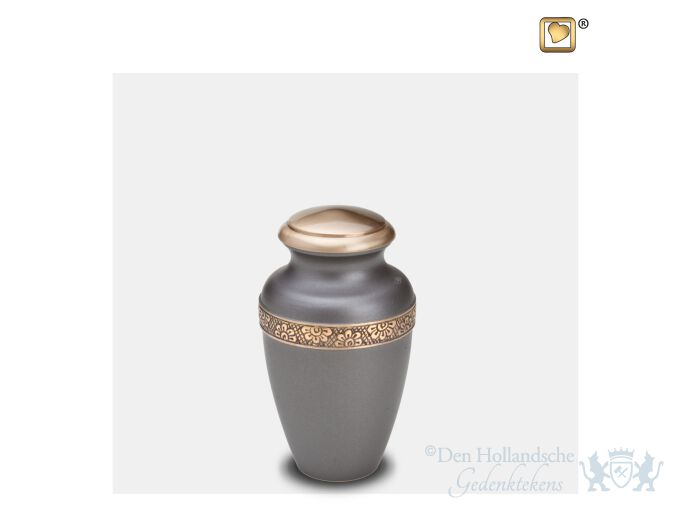 Floral Band Keepsake Urn Slate and Bru Gold foto 1
