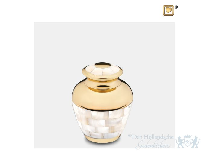 Mother of Pearl Keepsake Urn Pol Gold foto 1