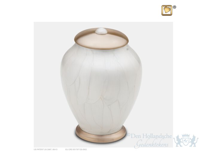 Simplicity Medium Urn Pearl White and Bru Gold foto 1