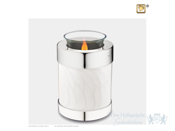 Tealight Urn Pearl White and Pol Silver foto 1