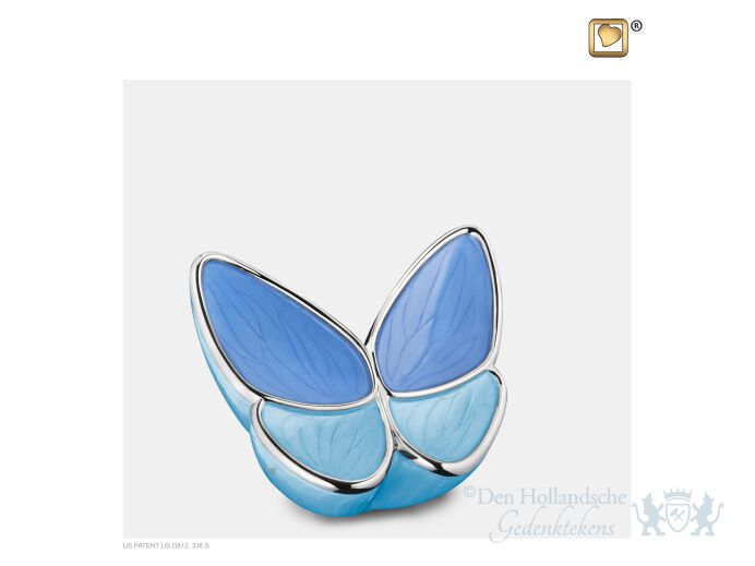 Wings of Hope Keepsake Urn Peal Blue and Pol Silver foto 1