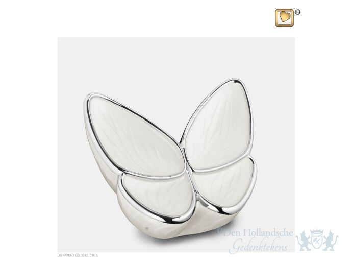 Wings of Hope Medium Urn Pearl White and Pol Silver foto 1