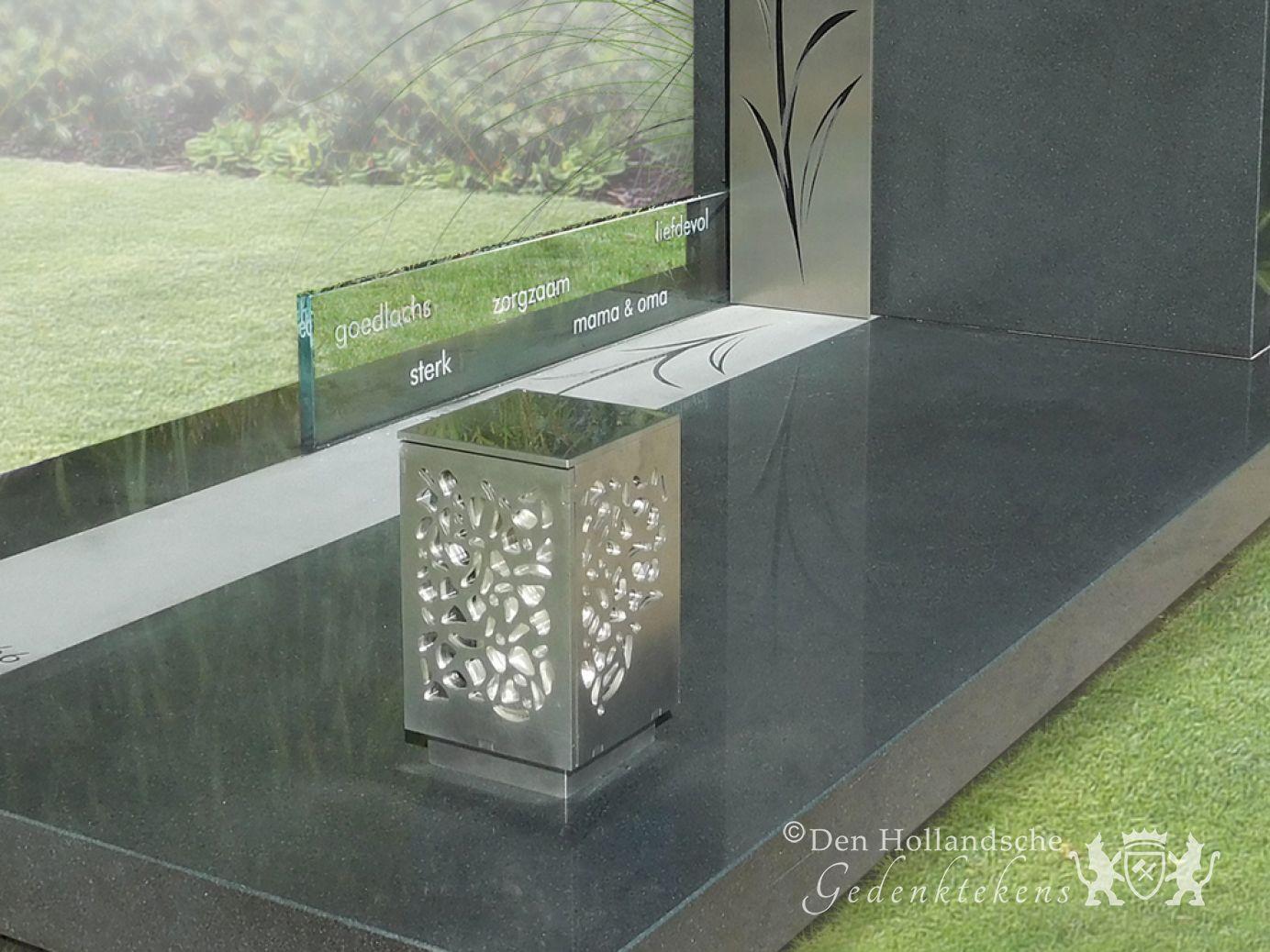 Moderne grafsteen met paardenbloem decoratie 33736