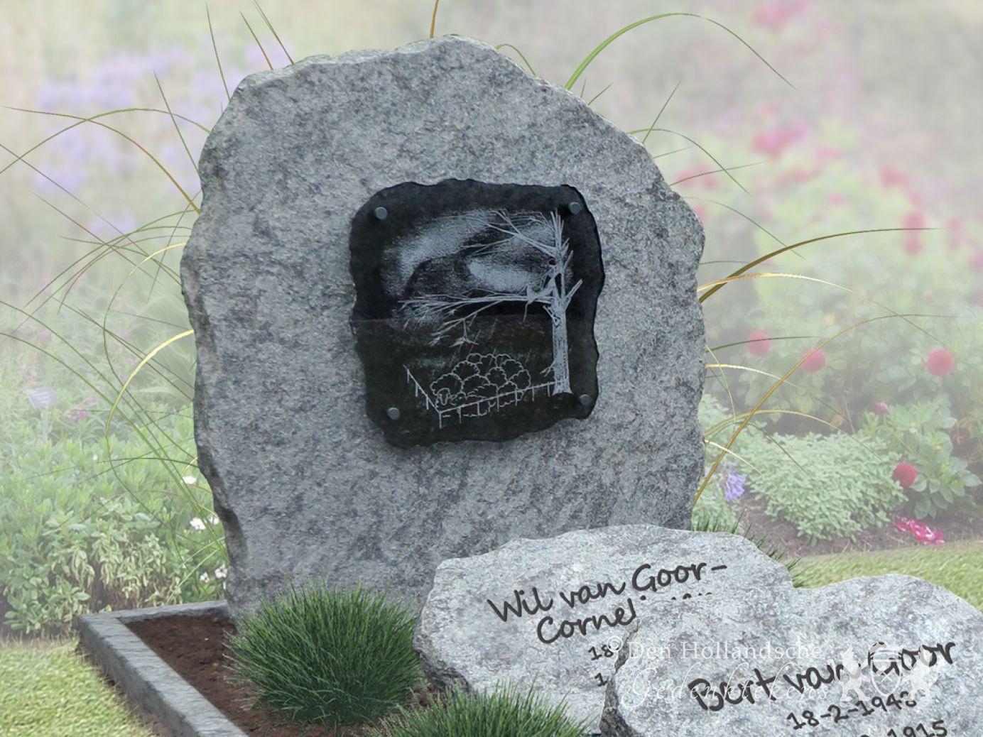 Natuurlijk gedenkteken met geborsteld natuursteen