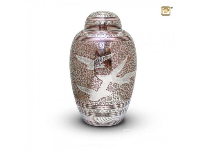 Messing urn met vogel decoratie zilver met rood 3829 for Decoratie zilver