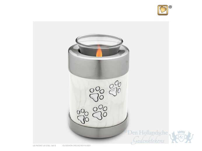 Pet Tealight Urn Pearl White and Bru Pewter foto 1