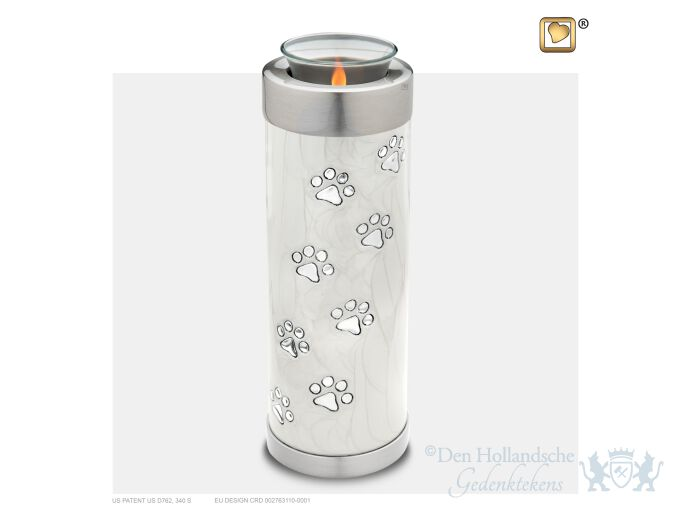 Tall Pet Tealight Urn Pearl White and Bru Pewter foto 1