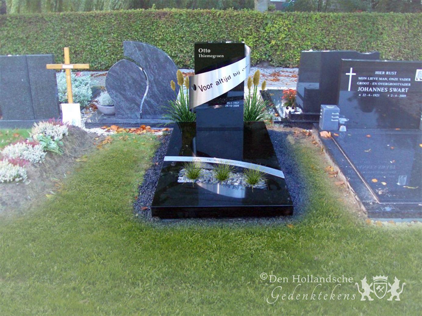 Zwart granieten grafmonument met rvs den hollandsche gedenktekens - Zwart granieten werkblad prijs ...